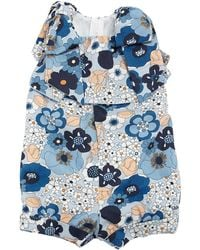 Chloé - Allover Flower-print Playsuit W/ Bow Shoulders - Lyst