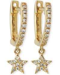 EF Collection - 14k Mini Huggie Diamond Star Drop Earrings - Lyst