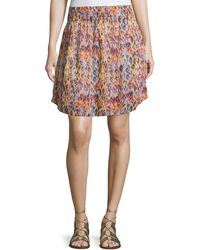 IRO - Orchid Printed Smocked Voile Skirt - Lyst