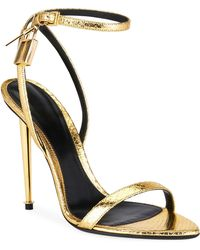 Tom Ford - Laminated Printed Python Sandals - Lyst