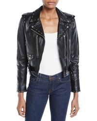 RE/DONE - The Studded Cropped Leather Moto Jacket - Lyst