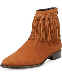 Jimmy Choo - Eric Men's Dry Suede Fringe-trim Ankle Boot - Lyst