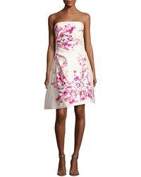 Monique Lhuillier - Strapless Cherry Blossom-print Cocktail Dress - Lyst