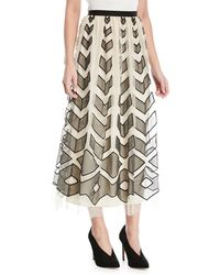 RED Valentino - Point D'esprit Long Skirt With Cutouts - Lyst
