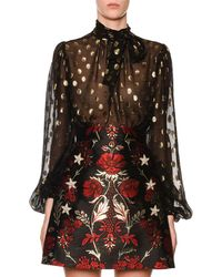 Dolce & Gabbana - Long-sleeve Tie-neck Dotted Fil Coupe Chiffon Blouse - Lyst