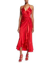 Johanna Ortiz - V-neck Sleeveless Crisscross Asymmetric Drape Silk Charmeuse Cocktail Dress - Lyst