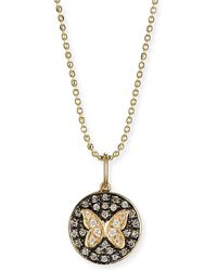 Sydney Evan - Butterfly Medallion Necklace With Diamonds - Lyst