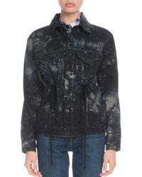 Proenza Schouler - Pswl Tie-dye Drawstring-waist Button-front Rigid Denim Jacket - Lyst