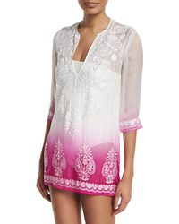 Marie France Van Damme - Embroidered-front Ombre Short Tunic Coverup - Lyst