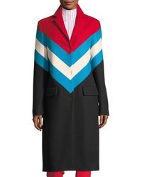 MSGM | Chevron Snap-front Wool-knit Overcoat | Lyst