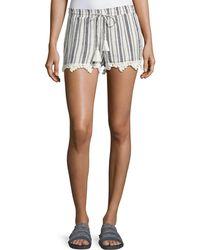 Joie - Angelle Striped Tassel Drawstring Shorts - Lyst