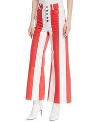 Alice + Olivia - Jonelle High-waist Striped Crop Jeans - Lyst