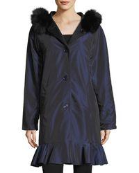 Sofia Cashmere - Long-sleeve Button-front Reversible Raincoat W/ Fur Trim - Lyst