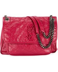 d9d85b6f625c Saint Laurent - Niki Medium Monogram Ysl Shiny Waxy Quilted Shoulder Bag -  Lyst