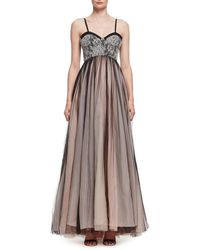 Lanvin | Pleated Chiffon & Lace Bustier Gown | Lyst