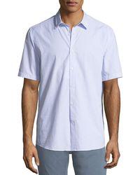 Ferragamo - Men's Textured Cotton Short-sleeve Sport Shirt - Lyst
