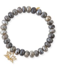Sydney Evan - 14k Silverite & Diamond Lotus Bracelet - Lyst