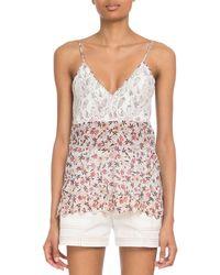 Chloé - V-neck Lace-bodice Cami-strap Floral-print Viscose Top - Lyst