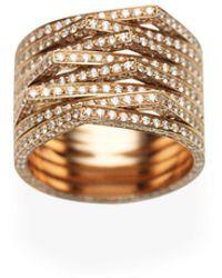 Repossi Antifer Eight-row Ring With Diamonds In 18k Black Gold