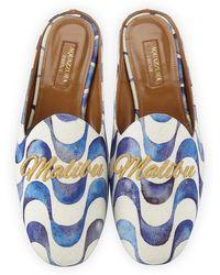 Aquazzura - Malibu Wave-print Loafer Slide - Lyst