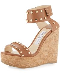 Jimmy Choo - Nelly Studded Cork Wedge Sandal - Lyst