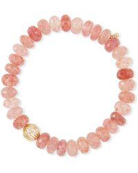Sydney Evan - Cherry Quartz Bead Bracelet W/ Diamond Wire Ball - Lyst