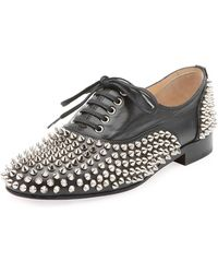 0193e1e2ffb2 Christian Louboutin - Freddy Spikes Red Sole Saddle Oxford Shoes - Lyst