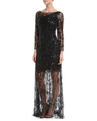 Jenny Packham - Sleeveless Ombre Beaded Evening Gown - Lyst