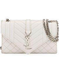 27eb1f2fa9 Saint Laurent - Monogram Ysl Envelope Small Chain Shoulder Bag - Silver  Hardware - Lyst