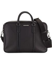 Ermenegildo Zegna - Men's Leather Briefcase With Pelle Tessuta Id Tag - Lyst