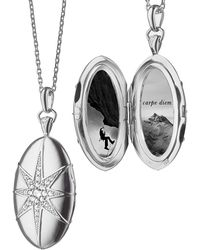 Monica Rich Kosann - White Sapphire Star Locket Necklace - Lyst