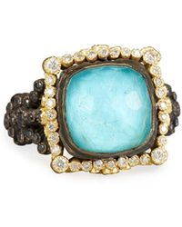 Armenta - Old World Midnight Cushion-cut Doublet Ring With Diamonds - Lyst