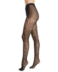 Natori - Deco Lace Net Sheer Control-top Tights - Lyst