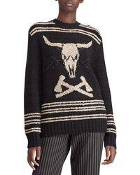 Ralph Lauren Collection - 50th Anniversary Steer Head Embroidered Crewneck Cashmere-linen Jumper - Lyst