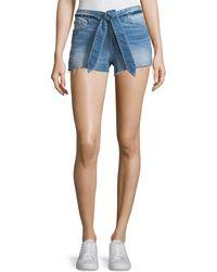 FRAME - Le Cutoff Released Tie-waist Denim Shorts - Lyst