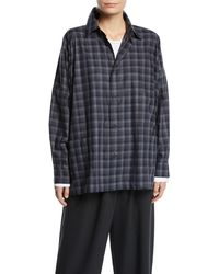 Eskandar - Plaid Spread-collar Cotton Shirt Jacket - Lyst