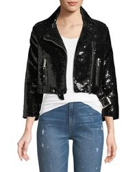 Nour Hammour - Sequined Cropped Biker Jacket - Lyst