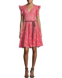 Monique Lhuillier - Ruffle-sleeve Lace Cocktail Dress - Lyst