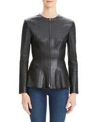 Theory - Movement Fitted Zip-front Leather Peplum Jacket - Lyst