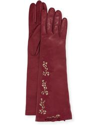 Portolano - Flower Embroidery Napa Leather Gloves - Lyst