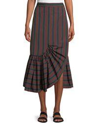 Rosetta Getty - Barcode Stripe Ruffle-hem Skirt - Lyst