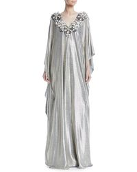 Badgley Mischka - Floral-embroidered V-neck Metallic Caftan Evening Gown - Lyst