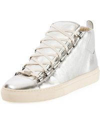 0d27fd7b0be06 Balenciaga - Sneakers High Arena Leather Silver - Lyst