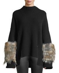 Sally Lapointe - Mock-neck Oversized Cashmere-knit Sweater W/ Fur Cuffs - Lyst