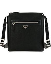 Lyst - Prada Small Saffiano Leather Camera Crossbody Bag in Black 3cb52830d7d77