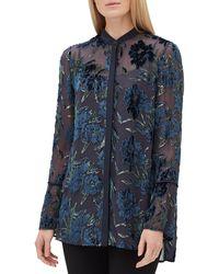Lafayette 148 New York - Nicolette Button-front Long-sleeve Floral Burnout Elite Panne Blouse - Lyst
