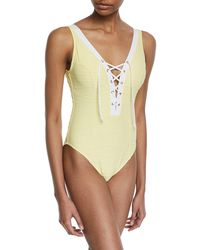 Letarte - Lace-up One-piece Swimsuit - Lyst