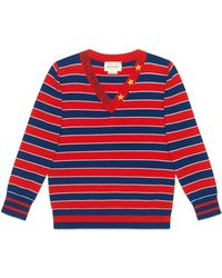 Gucci - Striped V-neck Monsters & Stars Wool Sweater - Lyst
