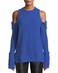 Tre by Natalie Ratabesi - Crewneck Zip-off Cold-shoulder Ribbed Cashmere Pullover Sweater - Lyst