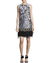 Badgley Mischka - Sleeveless Sequined Feather-hem Dress - Lyst